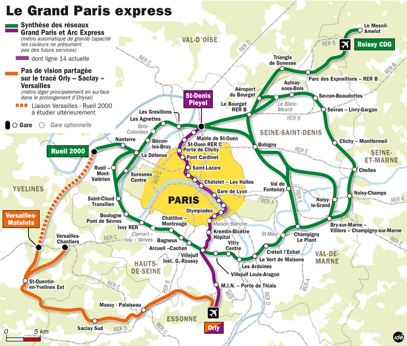 Schéma d'ensemble du Grand Paris Express