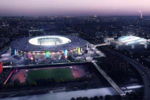 Le Stade de France et le futur centre aquatique olympique en Seine-Saint-Denis