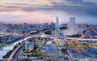 Perspective aérienne du futur quartier, Charenton-le-Pont au premier plan, les six tours parisiennes séparées par l'autoroute urbaine au second plan