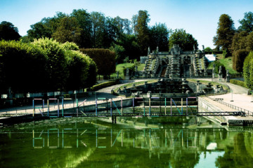 Le festival Rock en Seine (fin août) dans le parc de Saint-Cloud (92). Ici la grande cascade.