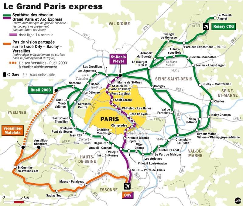 Schéma d'ensemble du Grand Paris Express